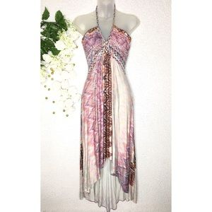 Sky - Braided Halter Boho High Low Dress
